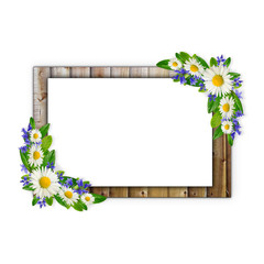 Wooden frame with wild flowers