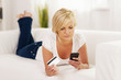 Focus woman holding mobile phone and credit card