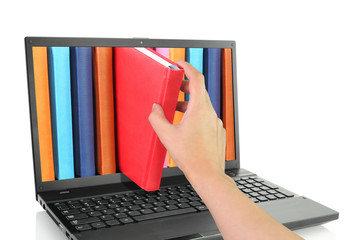 Laptop computer with colored books