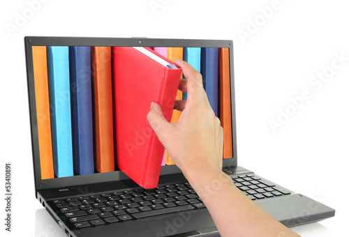 Laptop computer with colored books - 53410891