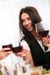 Beautiful brunette woman enjoy wine