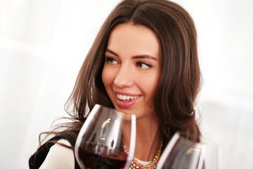 Beautiful brunette woman enjoy wine