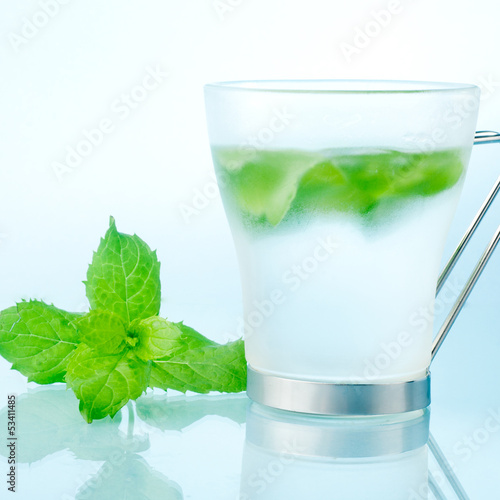 fresh mint and ice drink closeup