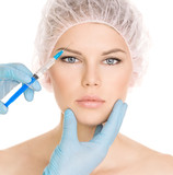 Cosmetic injection in brow zone, isolated on white poster