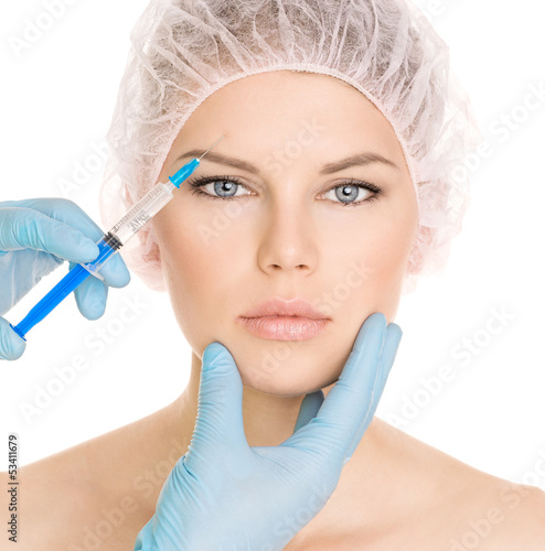 Cosmetic injection in brow zone, isolated on white