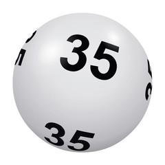 Loto, boule blanche numéro 35