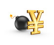 Sign of yen and black bomb.