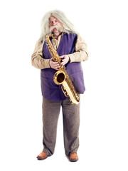 Old hippies saxophonist