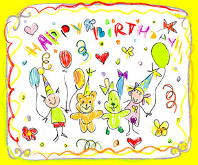 Birthday Party Doodles Card