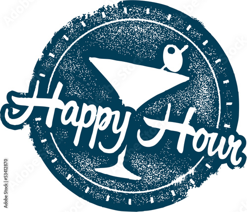Happy Hour Cocktail Bar Menu Stamp