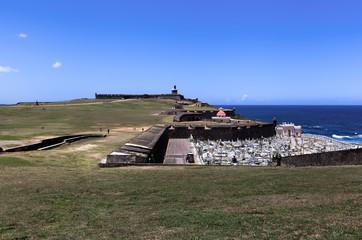 El Morro Fort in Old San Juan , Puerto Rico, historic cemetery