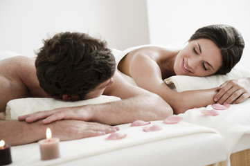Young couple relaxing in health spa
