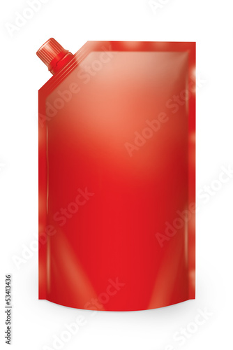 Stand-up spout pouch with cap isolated.  Red