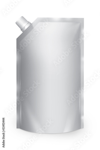 Stand-up spout pouch with cap isolated. White