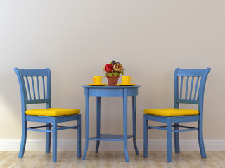 Blue chairs with table
