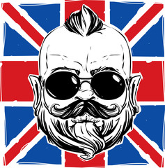 stylish man with a beard against the Union Jack