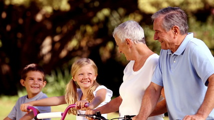 Grandparents and grandchildren on bikes