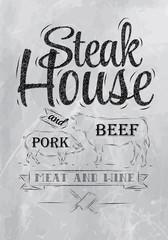 Poster Steak House coal