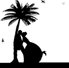 Wedding couple on the beach under the palm tree silhouette