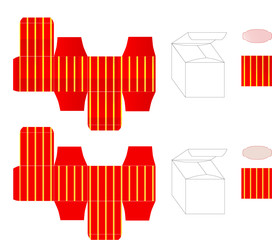 Vector template of red gift box with yellow stripes