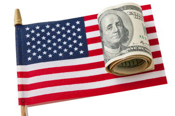 American Flag and  dollars bills.