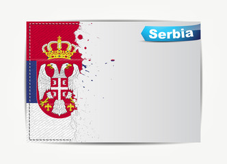 Stitched Serbia flag with grunge paper frame for your text.