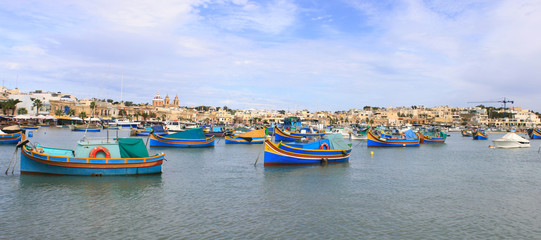 Panoramic view of the fishing village Marsaxlokk, Malta