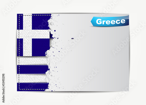 Stitched Greece flag with grunge paper frame for your text.