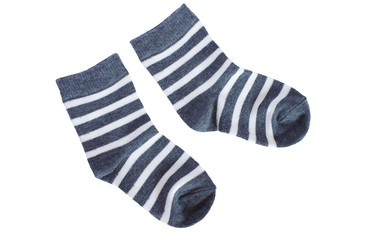 gray striped baby socks on white background