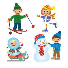 childrens fun in winter on white background