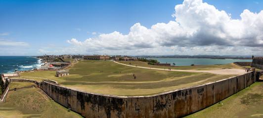 Old San Juan ,El Morrow fort walls in foreground