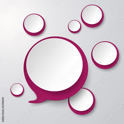 Purple White Speech bubble With Circles