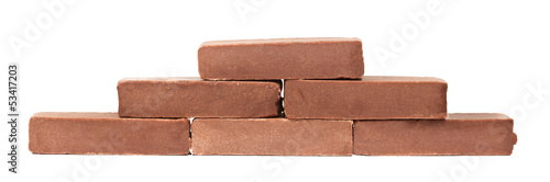 Chocolate bars over white background