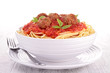 spaghetti, meatballs and tomato sauce