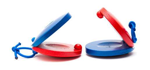 pair of red and blue castanets