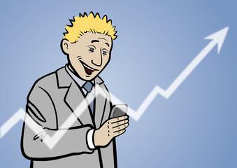 Fontmanager Pete mit steigenden Aktienkurs im Smartphone