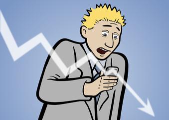 Fontmanager Pete mit fallendem Aktienkurs im Smartphone