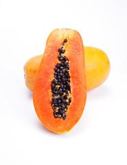 cut ripen papaya on white background