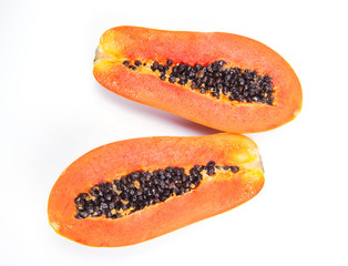 cut ripen papaya on white background