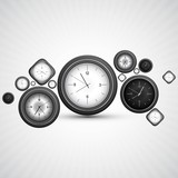 Shiny clocks circle white background Vector design