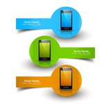 Mobile phone three colorful presentation website headers vector