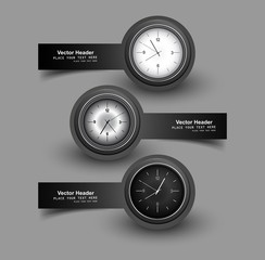 Set of three gray colorful headers with timers watch vector illu