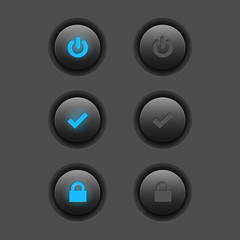 Set of modern web buttons - power, check, lock. Two positions.