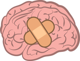 Isolated brain with bandage attached
