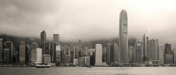 Hong Kong skyline panorama - sepia image