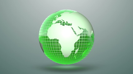 Looping background with green globe.