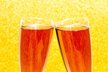 Celebration toast with rose champagne