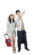 Asian couple travelling on white