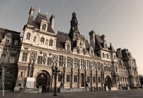 Hotel de Ville, Paris - sepia image