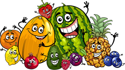 funny fruits group cartoon illustration